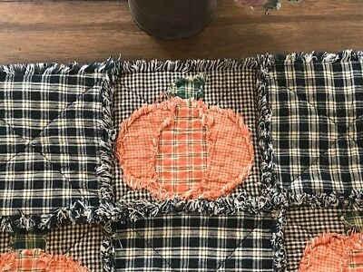 Plaid PriMiTivE Rag Table Runner Farmhouse Fall Orange Pumpkin Black Halloween
