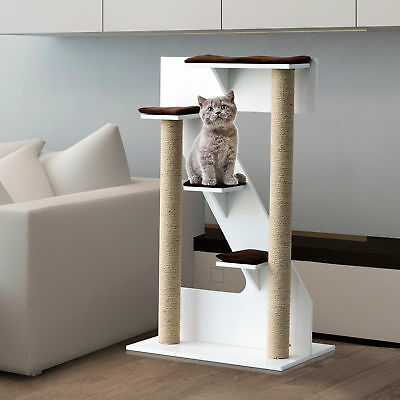 Cat Furniture Tree Multi-Level Scratching Tower Play Center White