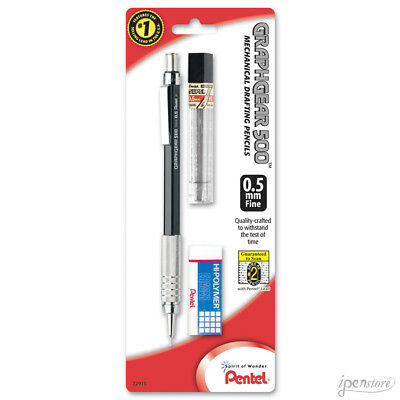 Pentel GraphGear 500 Mechanical Pencil with Lead & Eraser, Black, 0.5 mm