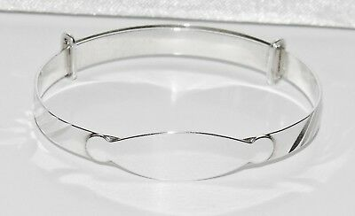 Sterling Silver (925) Expanding Baby Bangle with ID Name Plate