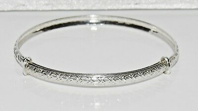 Sterling Silver (925) Patterned Expanding Baby Bangle