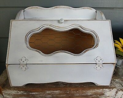 VINTAGE UPCYCLED WOOD bread box ~ shabby distressed white ~ chicken ...