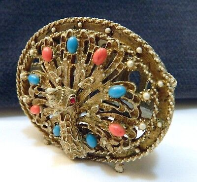 Florenza Peacock Lipstick Holder Coral, Turquoise stones cream enamel gold metal