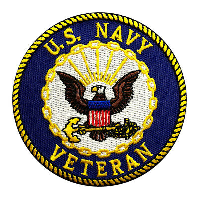 US NAVY VETERAN EMBROIDERED 3 inch IRON ON SEW ON PATCH