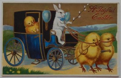Antique 1910 Postcard Embossed Easter Chicks Rabbit Carriage Anthropomorphic