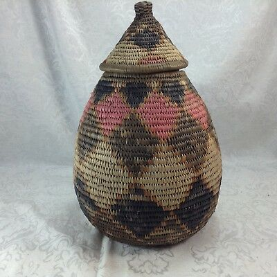 South African Traditional Zulu Basket with Tags Diamond Design