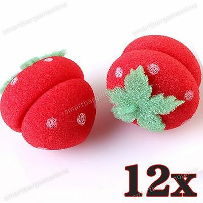 12x Cute Strawberry Hair Care Foam Soft Round Sponge Ball Curlers Rollers