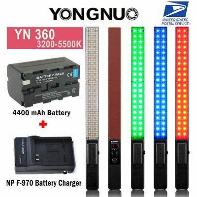 YONGNUO YN360 Pro Handheld LED Video Light 3200-5500K RGB Color F970 Charger US