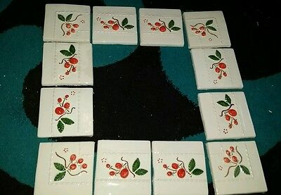 12 Antique reclaimed 3D handmade hand painted tiles fruit £125