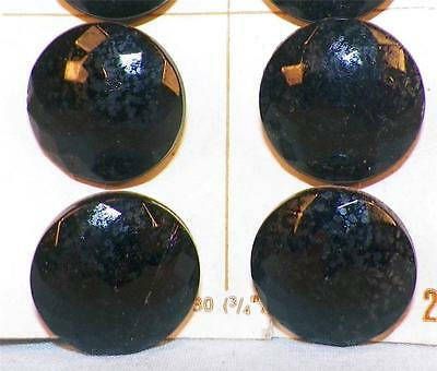 8 Vintage Black Glass Buttons Faceted Half Dome On Card Glaze Wear Le Chic