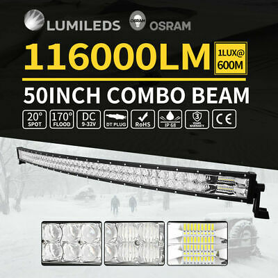 """Curved 52inch CREE LED Light Bar Spot Flood Offroad Driving Lamp Truck 4WD 50"""""""