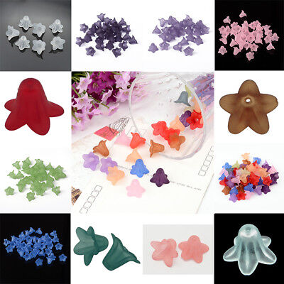 50Pcs Frosted Transparent Acrylic Flower Beads Jewelry Making 16x12mm hole 1.5mm