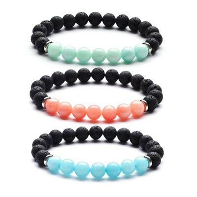 DIY 8mm Beads Natural Aromatherapy Lava Stone Healing Bracelet for Women N188