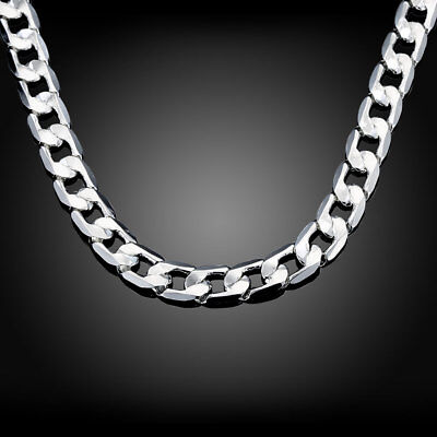 Solid 925 sterling silver 10MM chain men women necklace Jewelry fashion wedding
