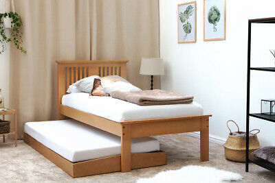 Moderm Solid Wooden Single Bed Frame & Pull Out Guest Bed Trundle Oak Finish