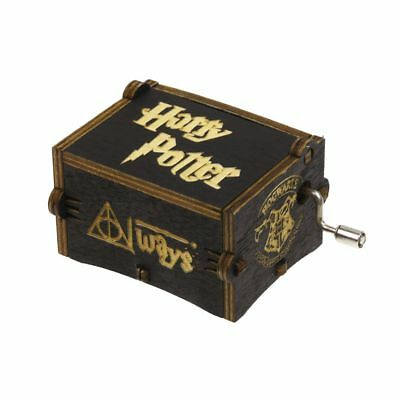 Black Harry Potter Music Box Engraved Wooden Music Box Interesting Kid Toys Xmas