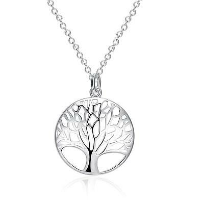 925 Stylish Sterling Silver Plated Tree of Life Pendant Chain Necklace Jewelry
