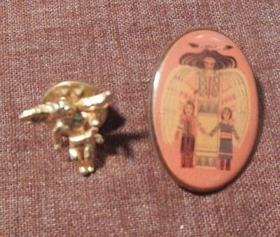 lot of 2 Guardian Angel Lapel Pin Brooch Tack Pin Christian Religious Jewelry