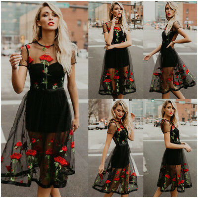 Plus Size UK Womens Boho Vintage Mesh Sheer Embroidered Floral Party Midi Dress