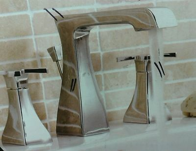 Counter Top Inset Basin Taps 3 Hole Sink Mixer Chrome Designer Square Bathroom
