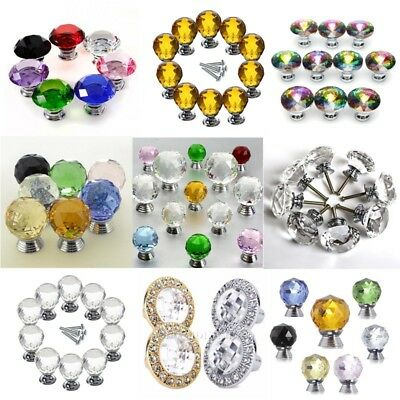 30/40mm Crystal Glass Door Knobs Cabinet Drawer Kitchen Furniture Pull Handle UK