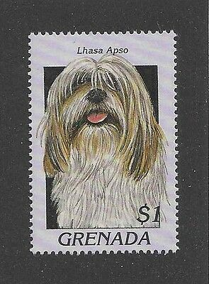 Dog Photo Head Study Portrait Postage Stamp LHASA APSO Grenada 1997 MNH