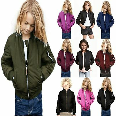 Boys Girls Kids Quilted Plain MA1 Front Pockets Button Bomber Zipped Up Jacket
