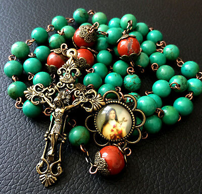 Red Carnelian & Howlite Beads Catholic Rosary Antiqued Bronze Crucifix Necklace