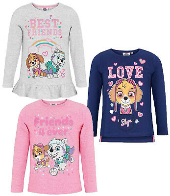 Paw Patrol Girls Long Sleeve Tops 100% Cotton Shirts Skye Tees T-Shirt 2-8 Yrs