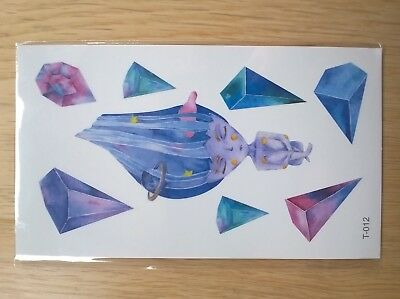BLUE CRYSTALS TEMPORARY TATTOOS 110mm X 60mm T012
