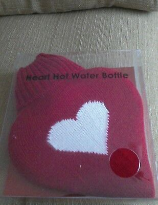 New Boxed Red Love Heart Shaped Hot Water Bottle & Cover