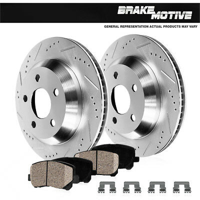 FRONT PowerSport Black Drilled Slotted Rotors and Ceramic Pads BBCF.63082.02