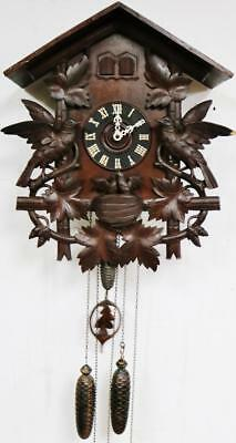 Rare Antique Black Forest 3 Weight Musical Automaton Carved Cuckoo Wall Clock