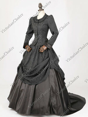 Victorian Layered French Bustle Masquerade Ball Gown Theater Gothic Dress 330