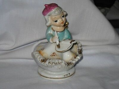 """Vintage CHASE JAPAN Porcelain Hand-Painted PAINTER GIRL figurine 4"""" tall  Japan"""