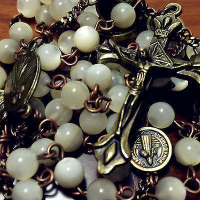 * Vintage Mother-of-Pearl ROSARY Beads necklace Ancient bronze Cross Crucifix