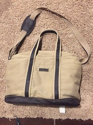 Eddie Bauer Large Baby Diaper Bag • Tan/Brown • Cotton & Polyester • Leather