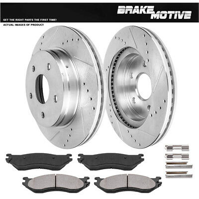 8 Ceramic Pads Fits:- 5lug 4 Silver Coated Cross-Drilled Disc Brake Rotors Front+Rear Kit High-End