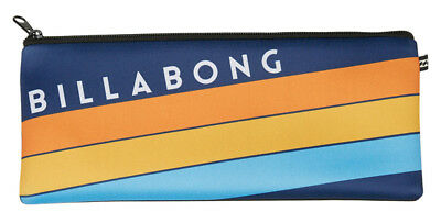 New Billabong Northpoint Neoprene Pencil Case Logo Stationary Organiser Blue