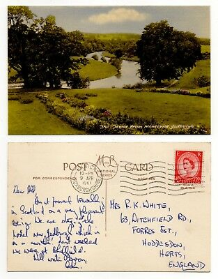 The Teviot From Monteviot Roxburghshire Old Postcard 1961 M & L National Series