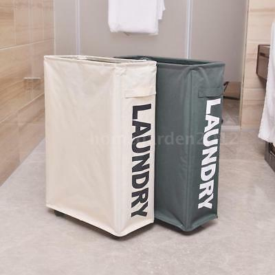 Foldable Oxford Cloth Laundry Basket Bin Mesh Clothes Hamper with 4 wheels C1I2