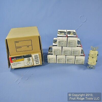 10 Cooper Ivory DOUBLE Toggle Duplex Wall Light Switches 15A Single Pole 271V