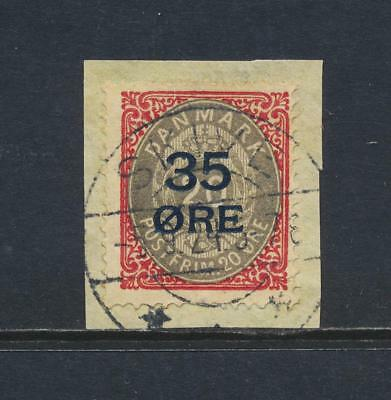 DENMARK 1912, 35o ON 20o, VF USED Sc#80 CAT$85 (SEE BELOW)