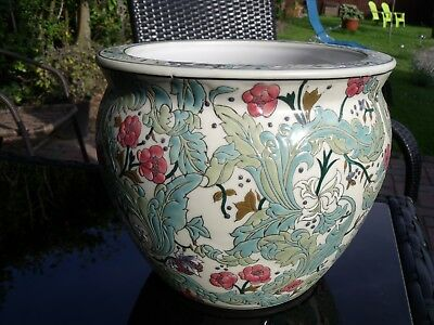 Enamelled Chinese Bowl or Planter decorated with Flowers & Foliage c1960s/70s