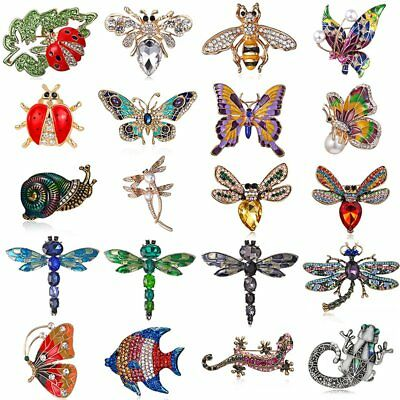 Women Crystal Insect Butterfly Brooch Pin Charm Badge Collar Jewelry Prom Gift