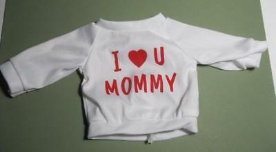 "fits American Girl/Battat 18"" Doll Clothes-I LOVE MOMMY WHITE LONG SLEEVED Shirt"