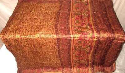 Cream Maroon Pure Silk 4 yard Vintage Sari Saree Gift for Mother Fabrics #9862K