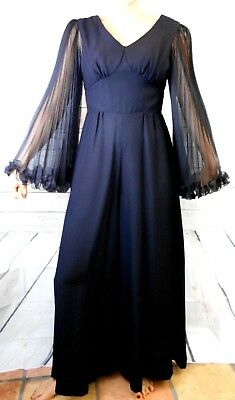 VINTAGE 60's BLACK JUMPSUIT PALAZZO PANTS ACCORDION SLEEVES METAL ZIPPER NICE!!!