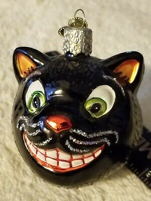 "Older Old World Christmas Halloween Ornament Black Cat 2 1/2"" x 2"""