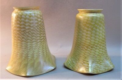 Fine Pair of FOSTORIA SNAKESKIN Art Glass Lamp Shades  c. 1915  antique American